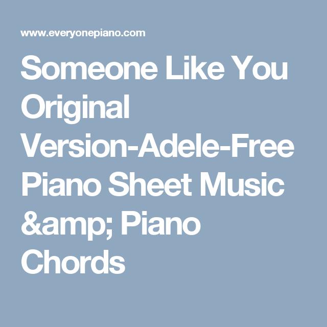 Someone Like You Original Version Adele Free Piano Sheet Music