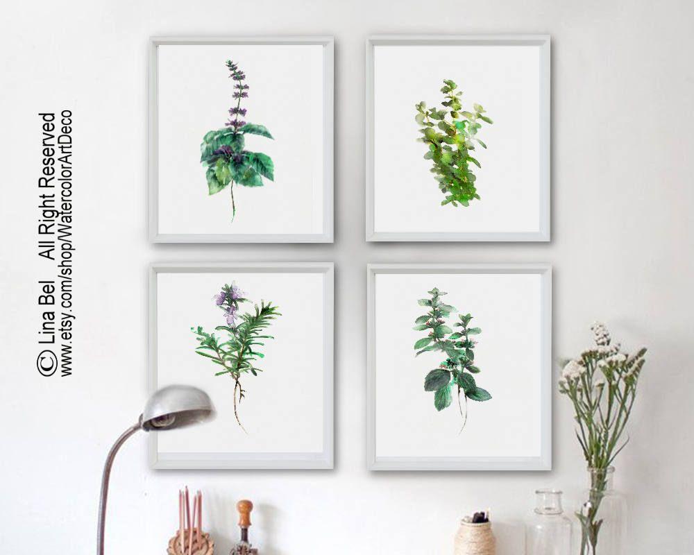 Watercolor kitchen herbs print set kitchen botanical mint thyme