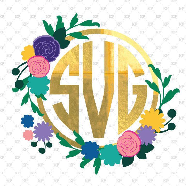 Flower monogram frame svg, Flower svg, flower monogram, svg
