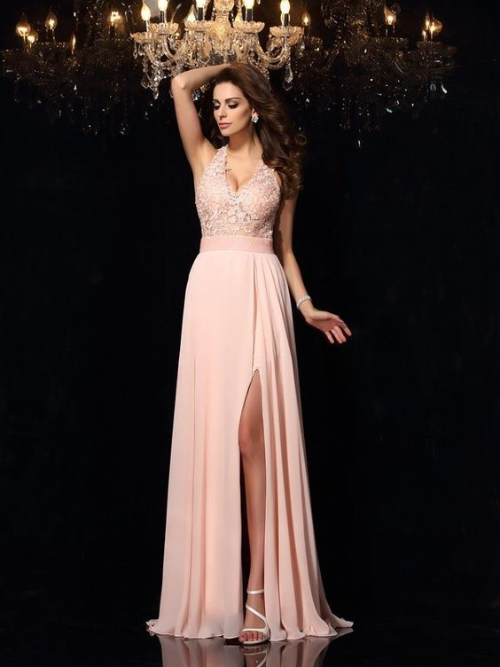 A-Line/Princess Halter Lace Sleeveless Sweep/Brush Train Chiffon Dresses
