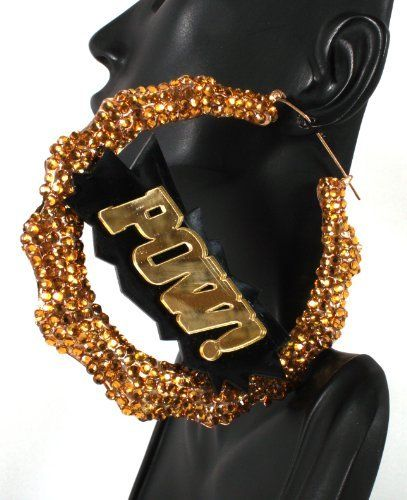 Gold Iced Out Pow!  Inch Bamboo Hoop Earrings Basketball Wives Poparazzi