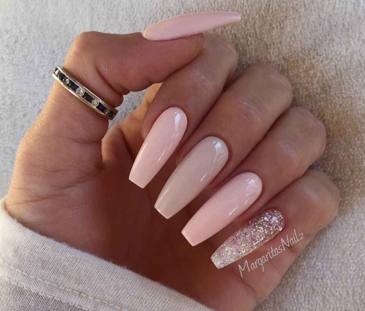 Nude Pink With A Glitter Pinky  Coffin Nails-4085