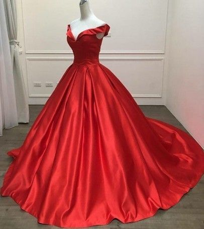 cc857d8cf90 Off the Shoulder Ball Gown Red Satin Prom Dress Floor Length Women Evening  Gowns by prom dresses