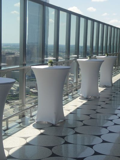 High Tables On High Top Tables With Nylon Top Cloth.