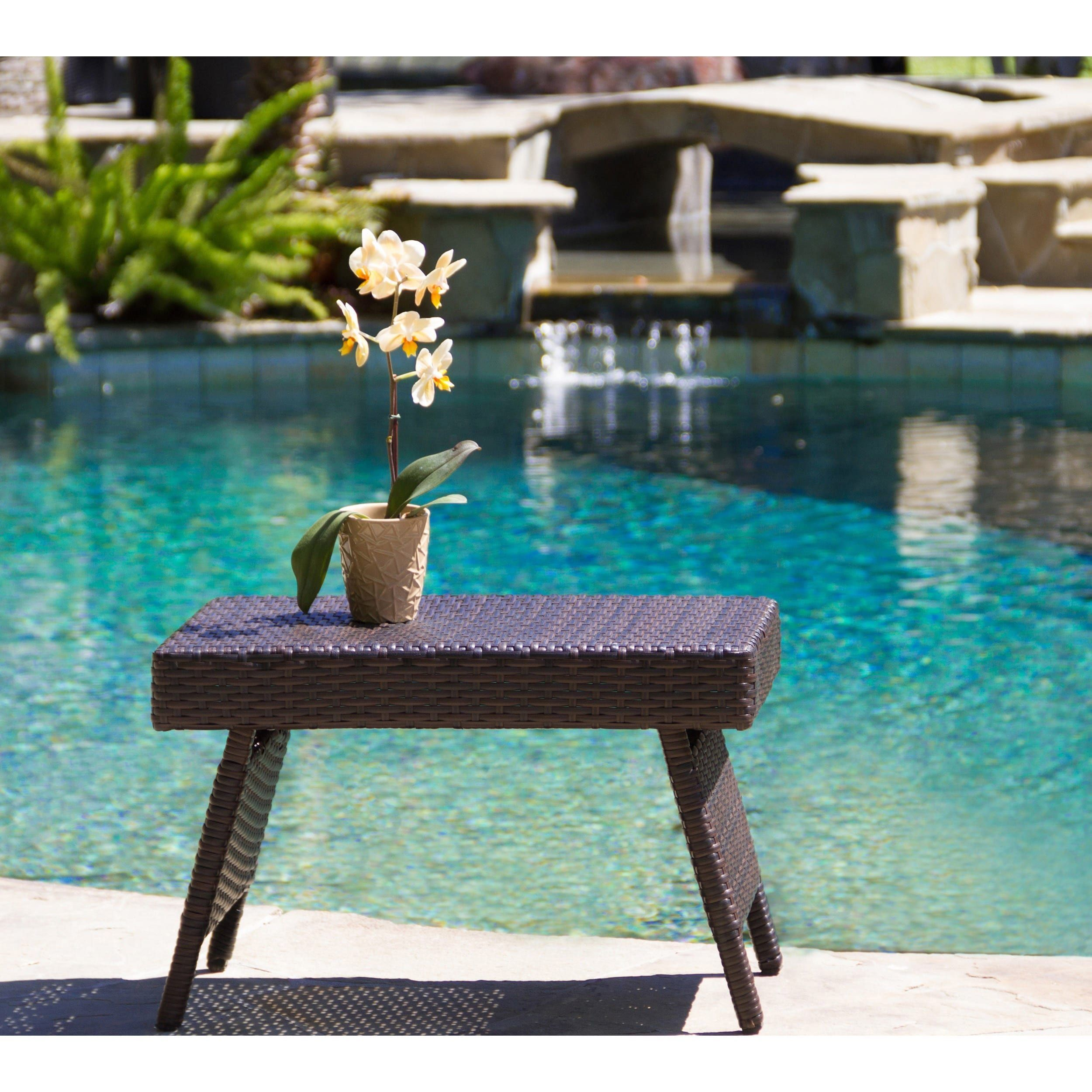 Home garden furniture  Outdoor Wicker Adjustable Folding Table by Christopher Knight Home