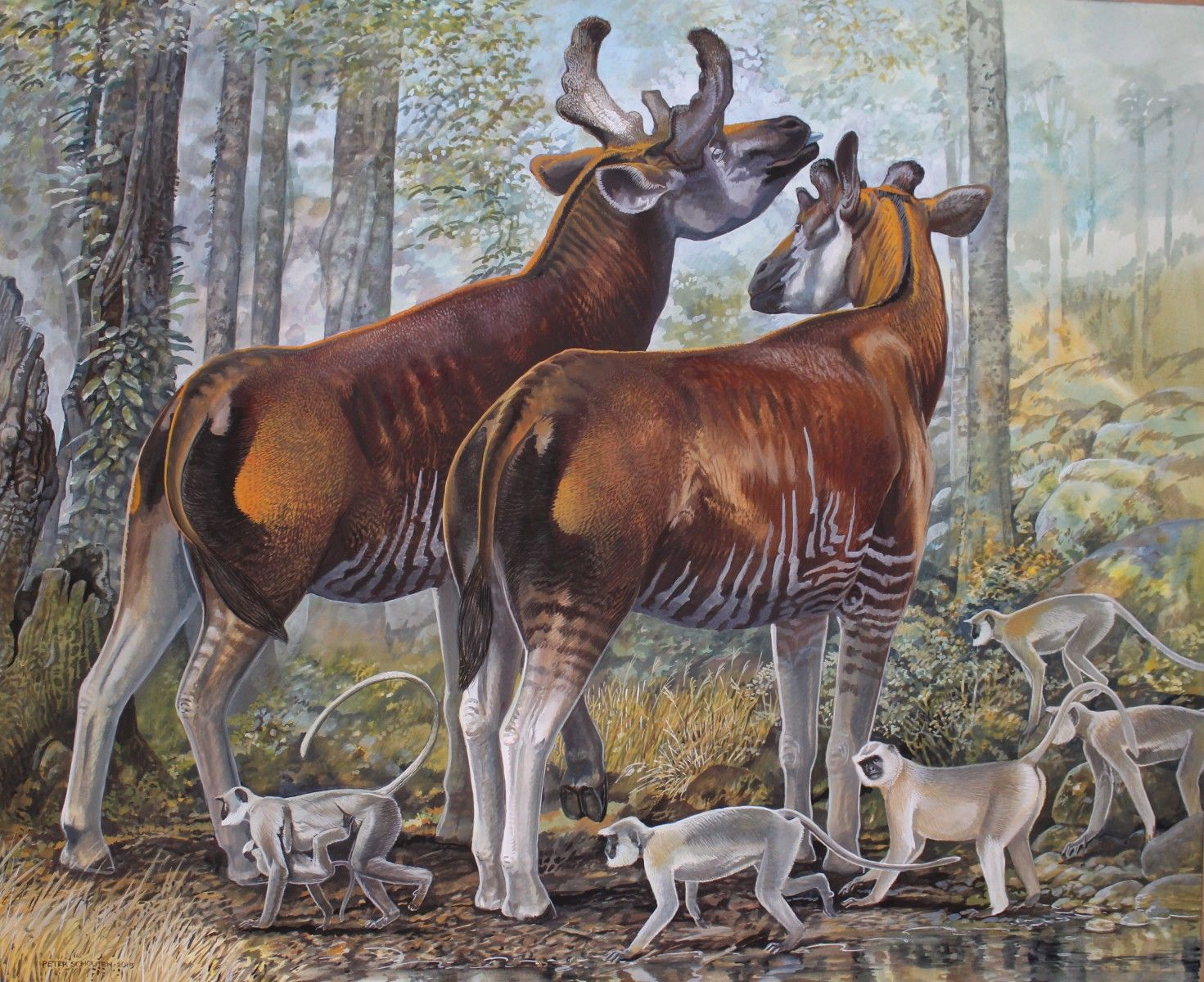 Sivatherium giganteum and Presbytis entellus by Peter
