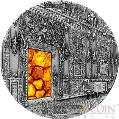 Fiji AMBER ROOM SAINT PETERSBURG Series MASTERPIECES IN STONE Silver coin $10…