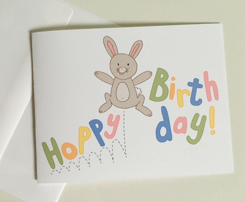 Birthday Card Hoppy Birthday Bunny Greeting Card Funny Birthday