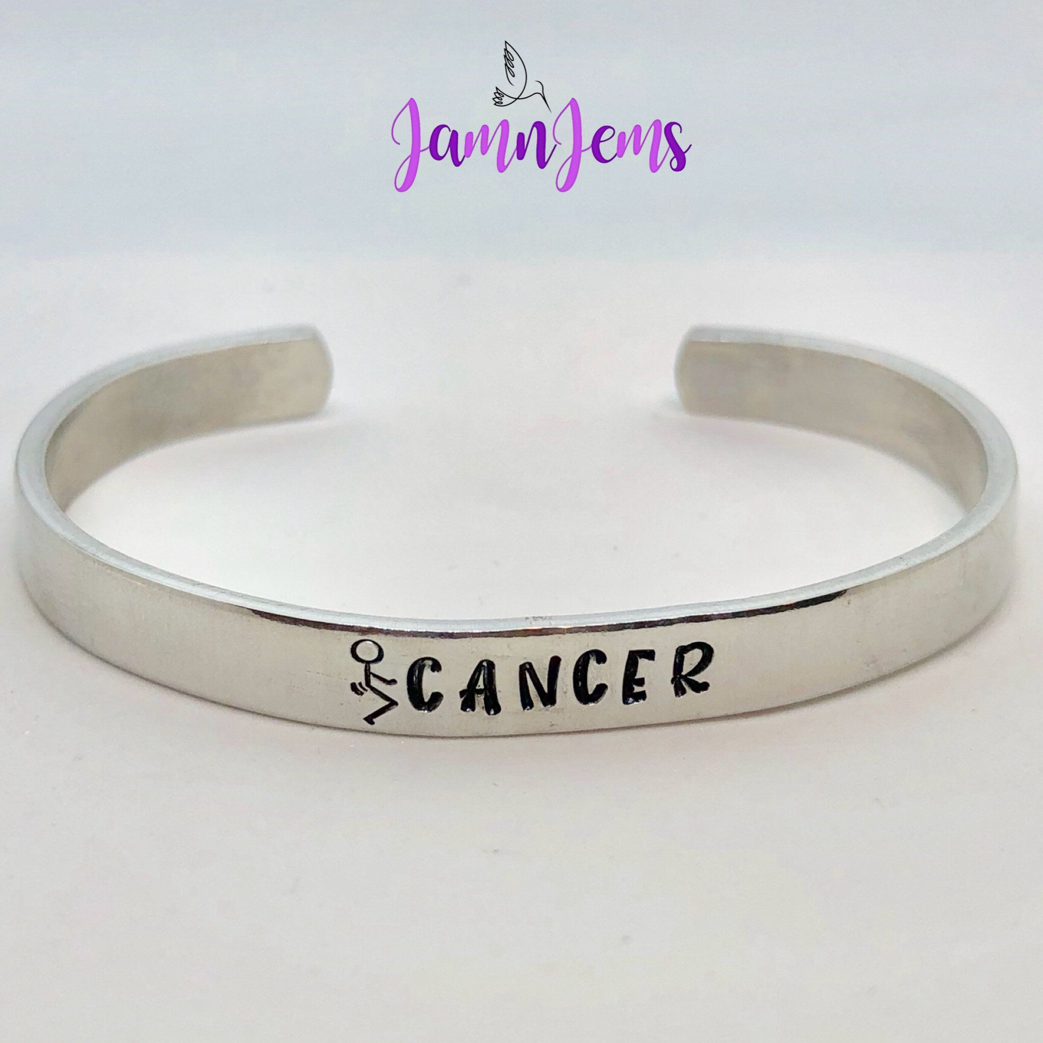 bangle hand adjustable rings stamped cancer survivor bracelet medical charm breast awareness products