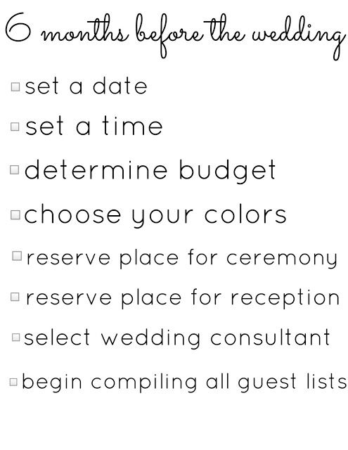 A 6 Month Engagement – Wedding Planning Checklist   Pinterest ...