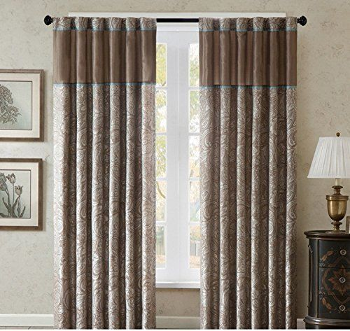 2 Piece 84 Inch Brown Solid Color Nature Paisley Window Curtains