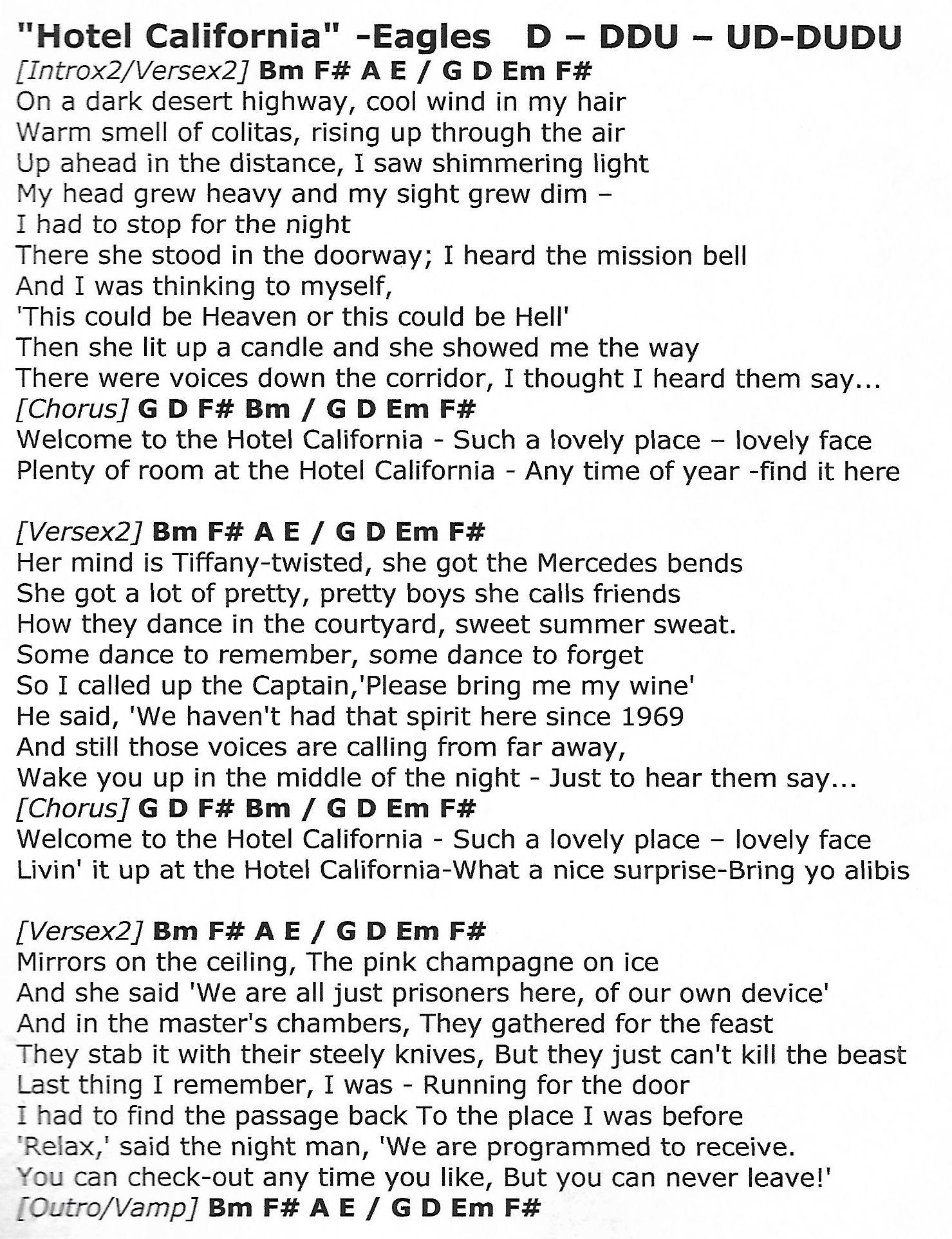 Hotel California Eagles Guitar Chord Chart With Lyrics Http Www Youtube Com Munsonmusiclive Hotel California Hotel California Guitar Chords Music Chords