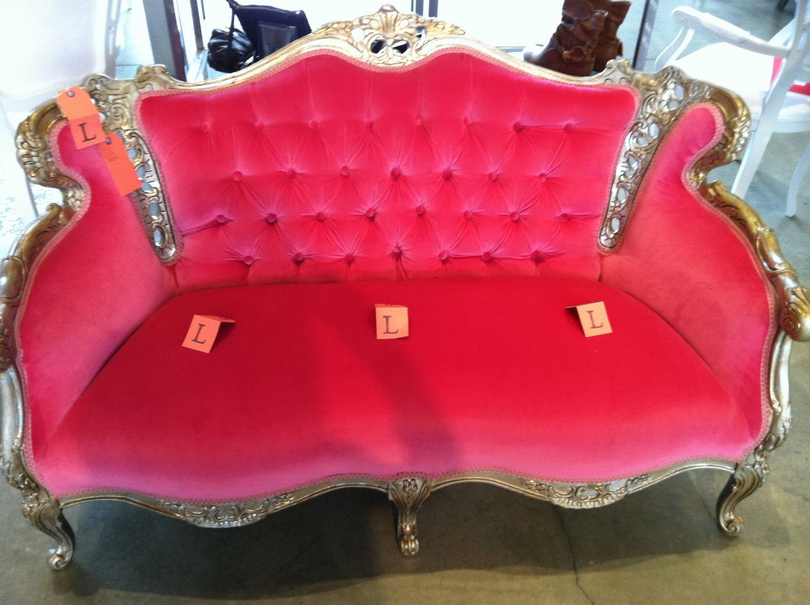pink+couches | hot pink baroque couch...on sale for $250 ...
