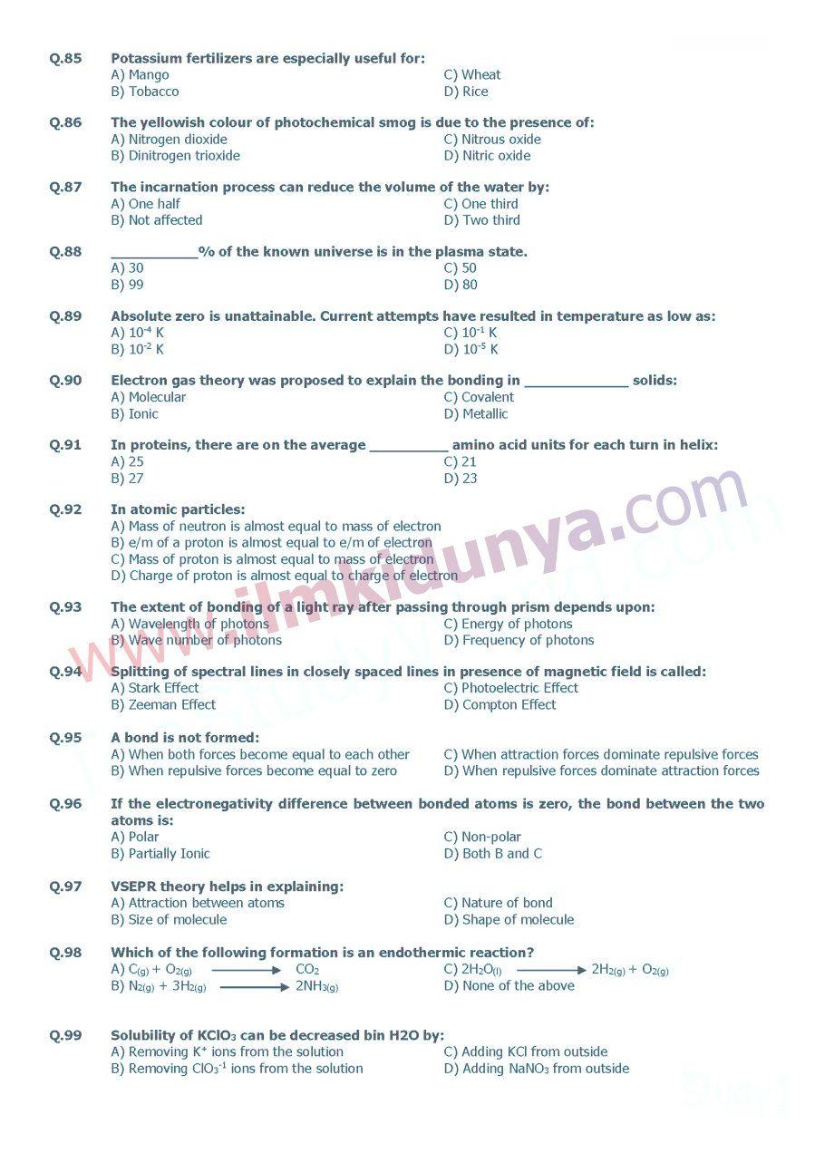 UHS MCAT Past Paper Chemistry 2009 | MCQs | Past papers, Paper, Past