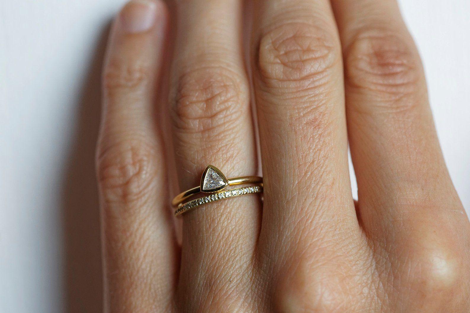 Trillion Diamond Ring 14k White Gold Diamond Wedding Sets Trillion Diamond Ring Diamond Engagement Ring Set