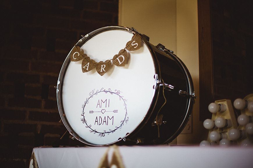 drum used as card box for wedding cards real wedding