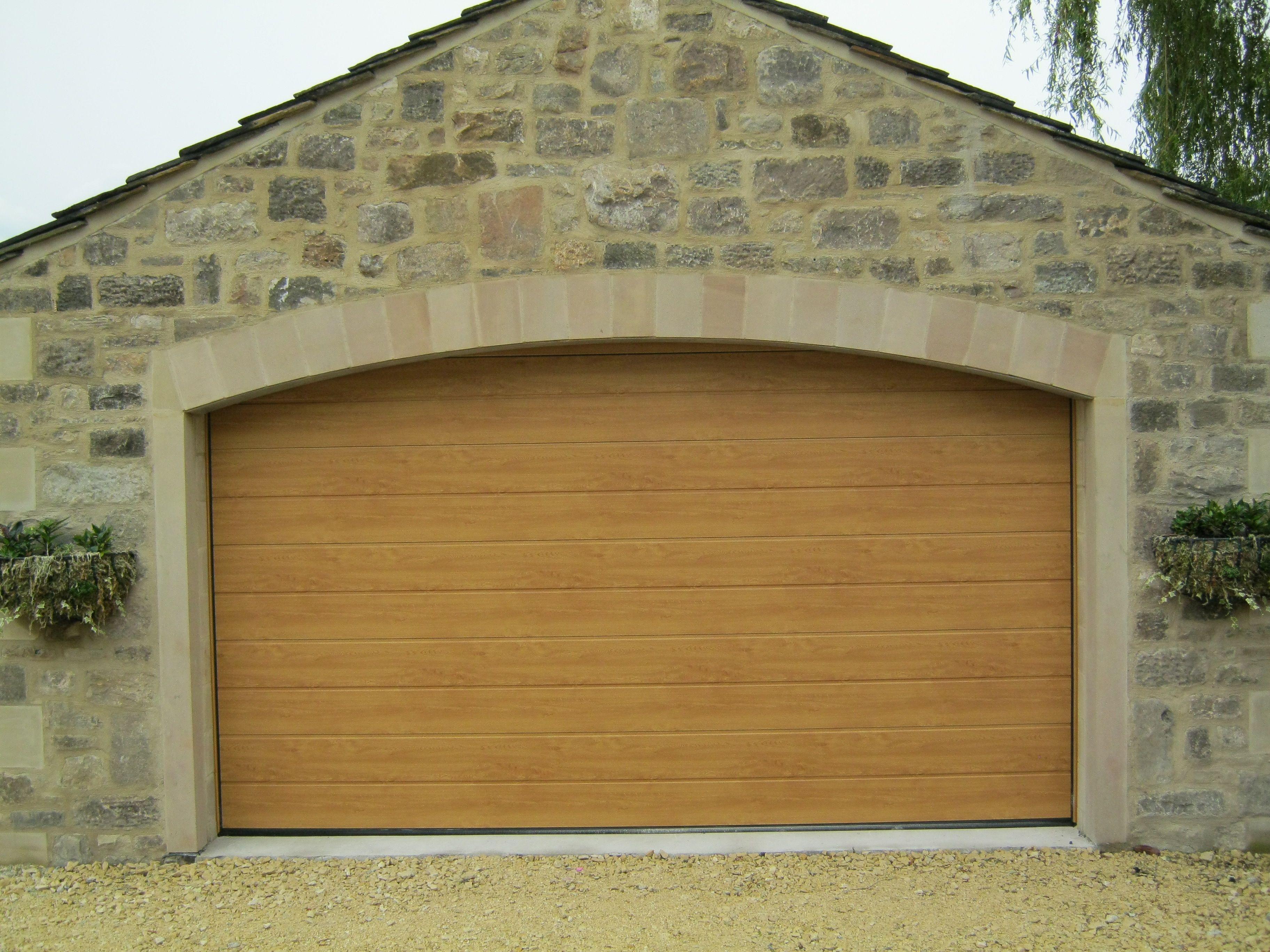 Hormann M Ribbed Sectional Garage Door In Decograin Light Oak