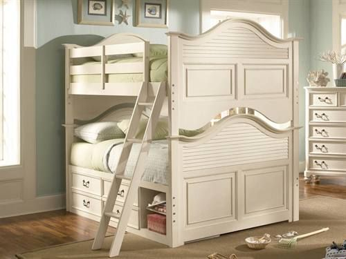 Max Furniture Elite Retreat Bunk Bed w/ Storage   With its cottage style design and Antique White finish, the Elite Retreat youth bedroom collection neatly fits into any girl's bedroom, offering them a stylish space that will become their private retreat    http://www.maxfurniture.com/detail-Youth-Bunk-Beds-Elite-Retreat-Bunk-Bed-w-Storage-198-42509.aspx