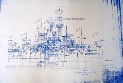Disneyland castle blueprint bella pinterest disneyland castle wonderful 24 x 36 blueprint of the iconic disneyland castle made the old fashioned way with ammonia activated paper on a diazit blueprint malvernweather Gallery