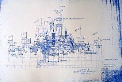 Disneyland castle blueprint bella pinterest disneyland wonderful 24 x 36 blueprint of the iconic disneyland castle made the old fashioned way with ammonia activated paper on a diazit blueprint malvernweather Images
