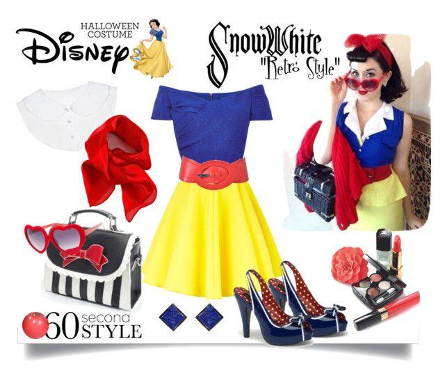 """""Retro Snow white""-60 second style"" by italianodiva on Polyvore featuring Saloni, AQ/AQ, Disney, Baleri Italia, Poizen Industries, Full Tilt, ADORNIA, Chanel, Halloween and 60secondstyle"