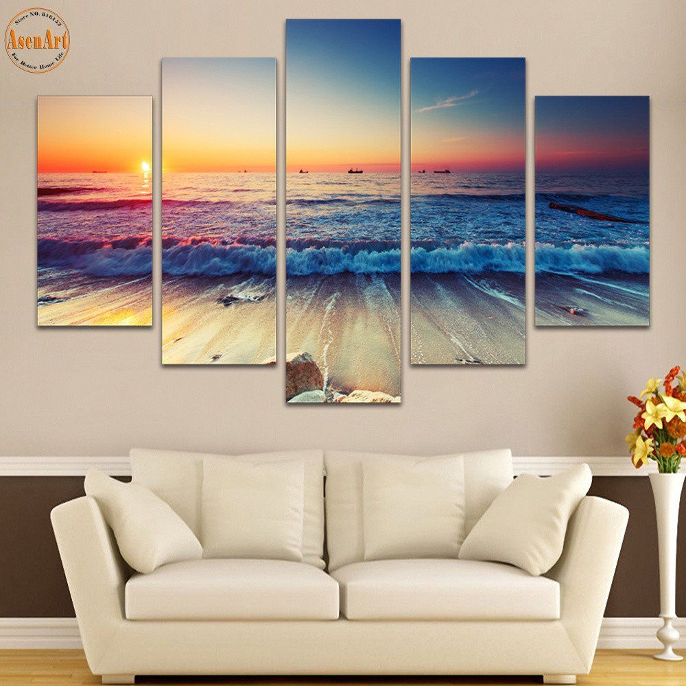 5 panel wall art seaside landscape painting sunset - Landscape paintings for living room ...