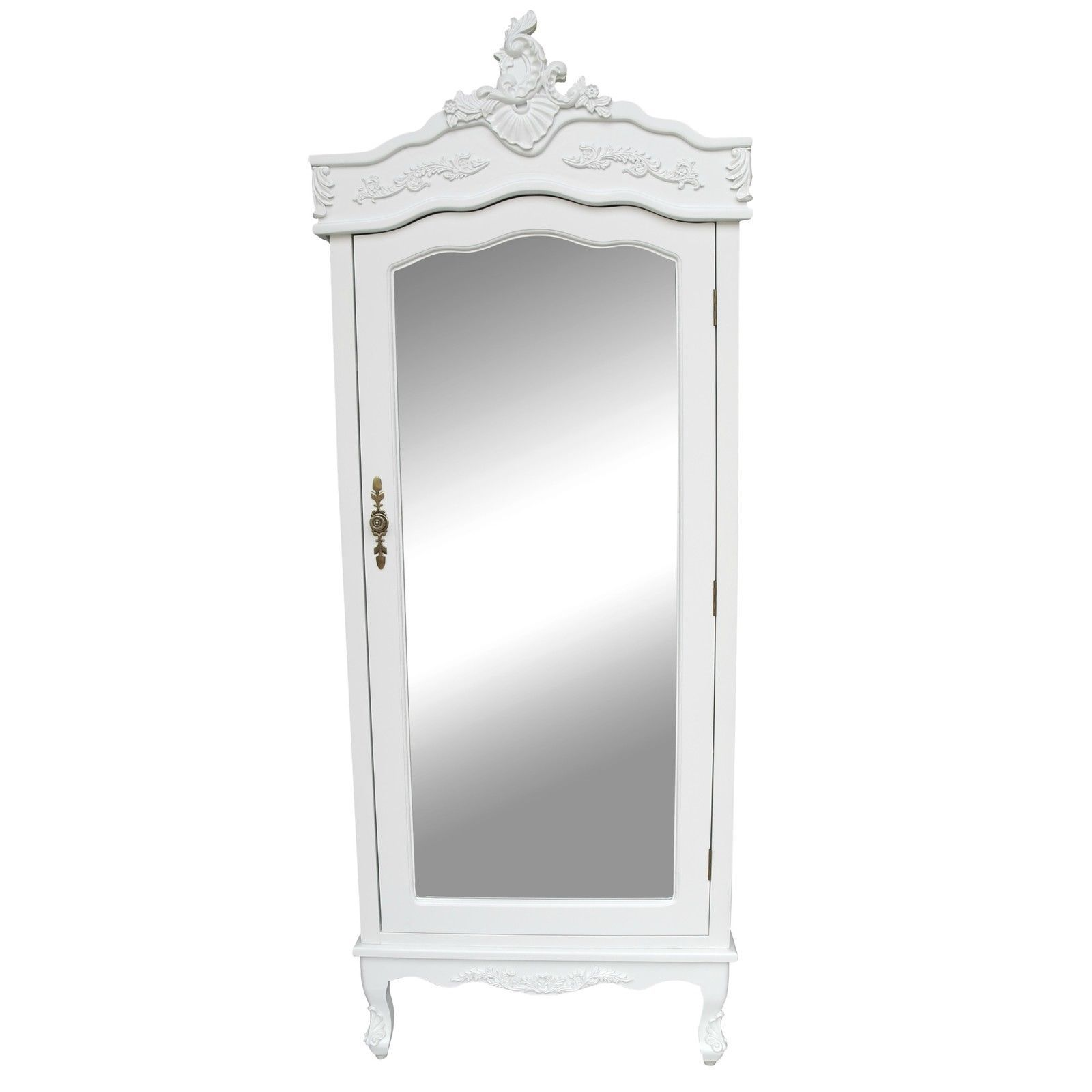French White Single Door Armoire With Mirrored Door (please Note. This  Product Requires The Anti Topple Safety Bracket Provided With The Wardrobe  To Be ...