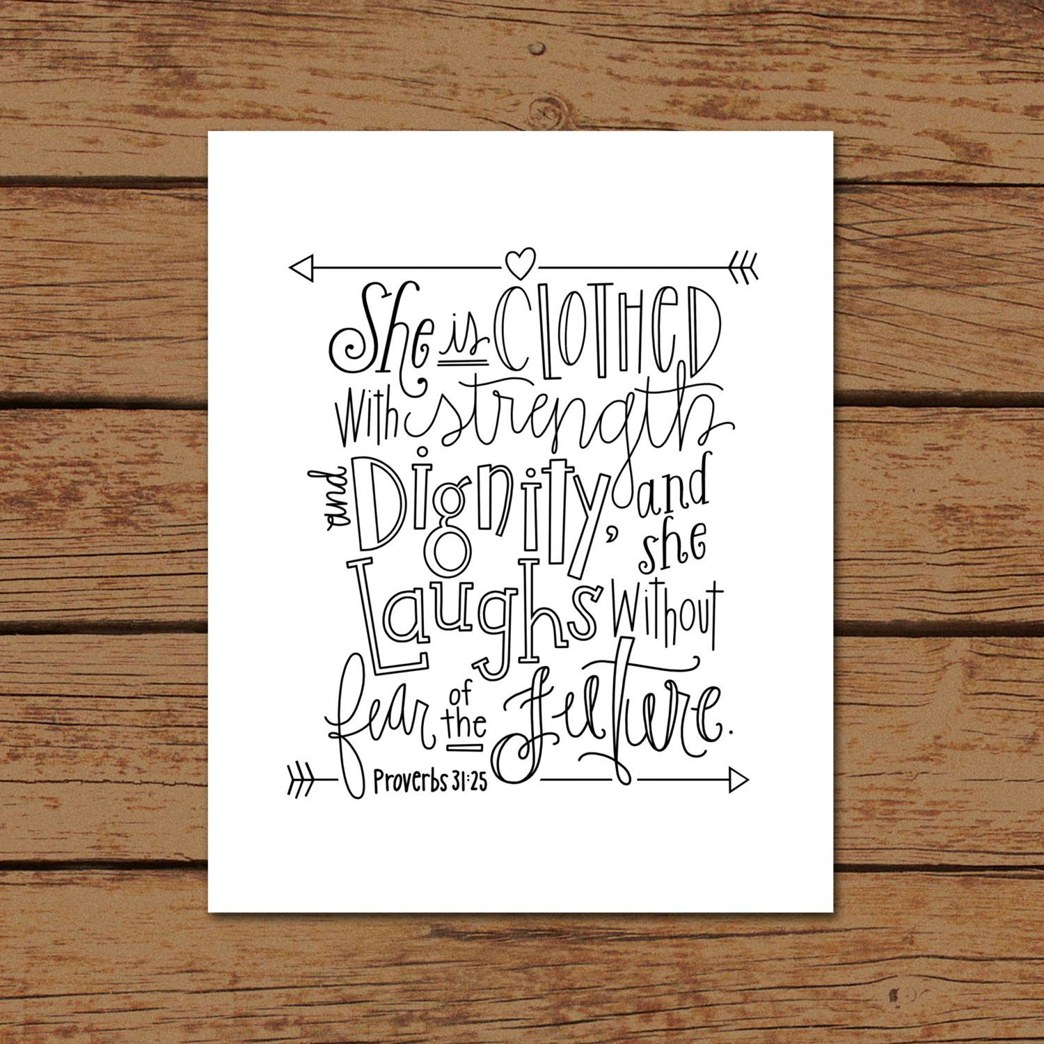 Proverbs 31 25 Bible Verse Hand Drawn Art By Sincerelyterilea