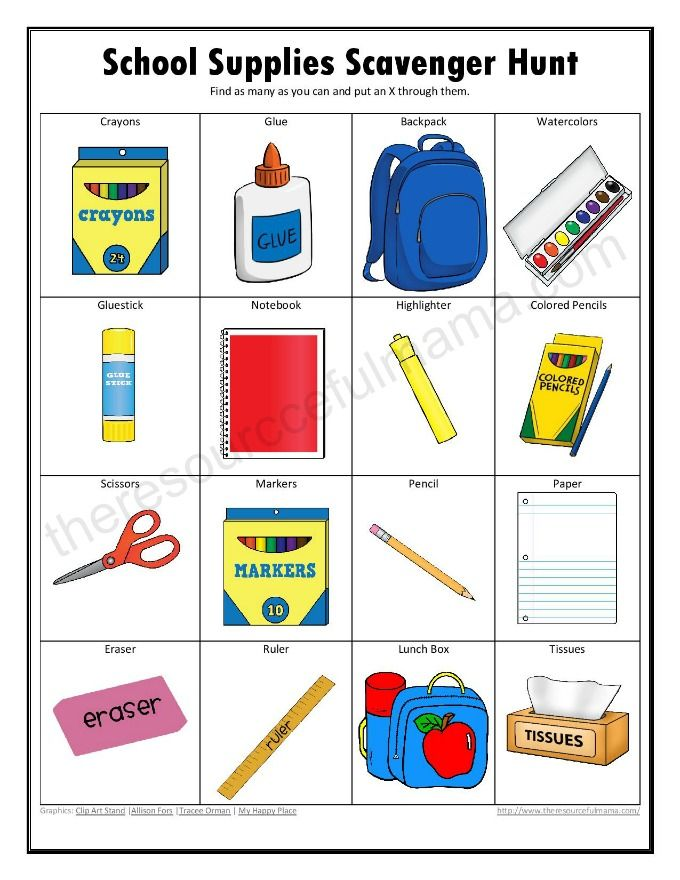School Supplies Scavenger Hunt School scavenger hunt