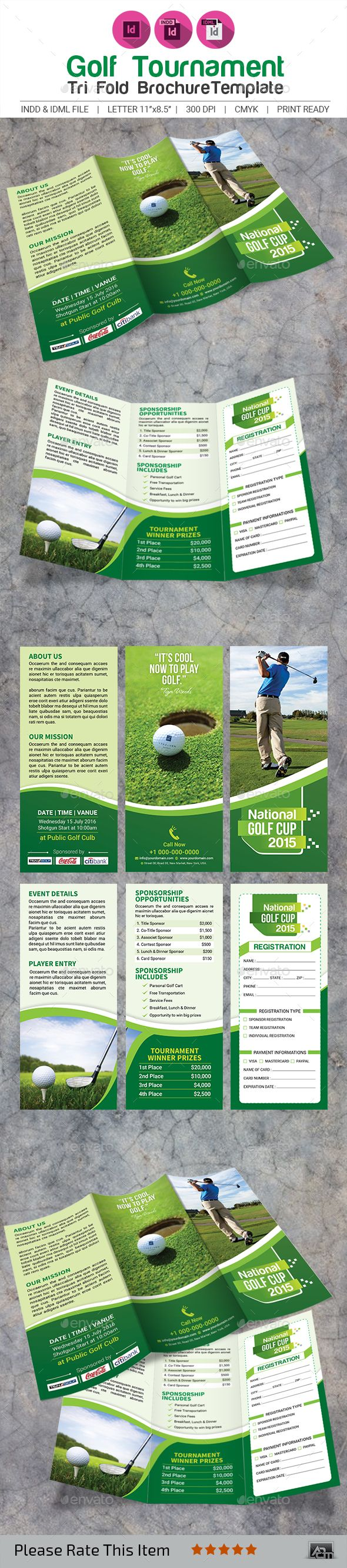 Golf Tournament TriFold Brochure Template  Tri Fold Brochure