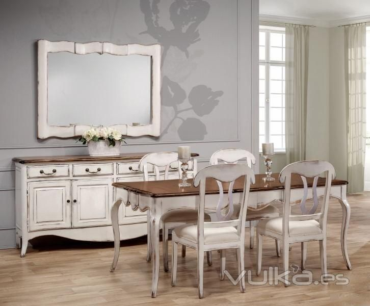 Ambiente de comedor chantal blanco roto decapado y madera for Comedor en frances