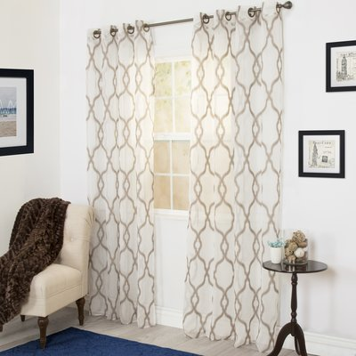 Plymouth Home Trellis Emboidered Geometric Sheer Grommet Single Curtain Panel Curtain Color Taupe Size Per Panel 54 W X 95 L Panel Curtains Curtains Decor