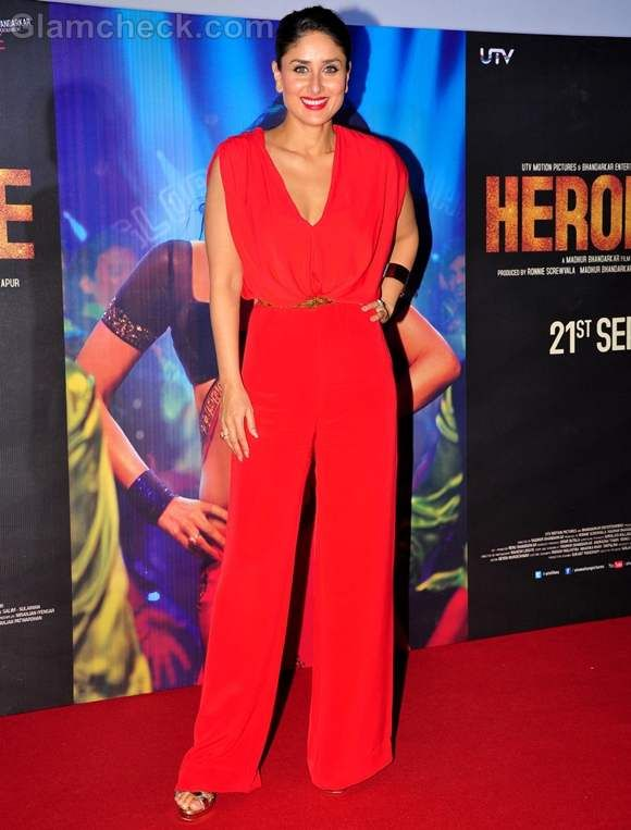 Kareena Kapoor Hot In Red Jumpsuit At First Look Of Heroine Jumpsuit Red Jumpsuit Kareena Kapoor