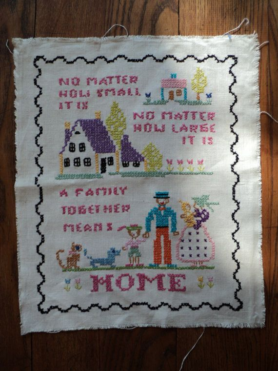 EMBROIDERED LINEN SAMPLER  About Home by RRGS on Etsy, $25.00