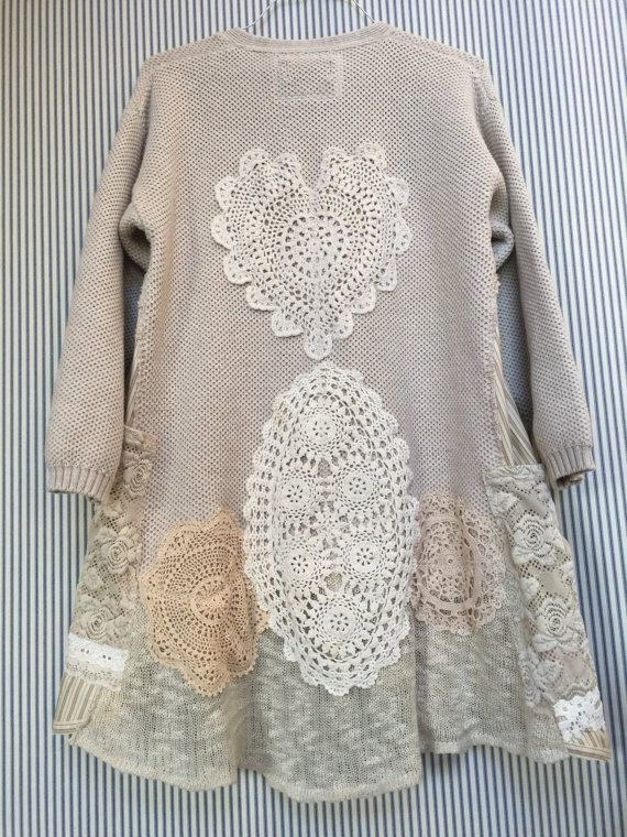 Photo of Upcycled Clothing Shabby Chic Thick Cotton V-Neck Pullover S