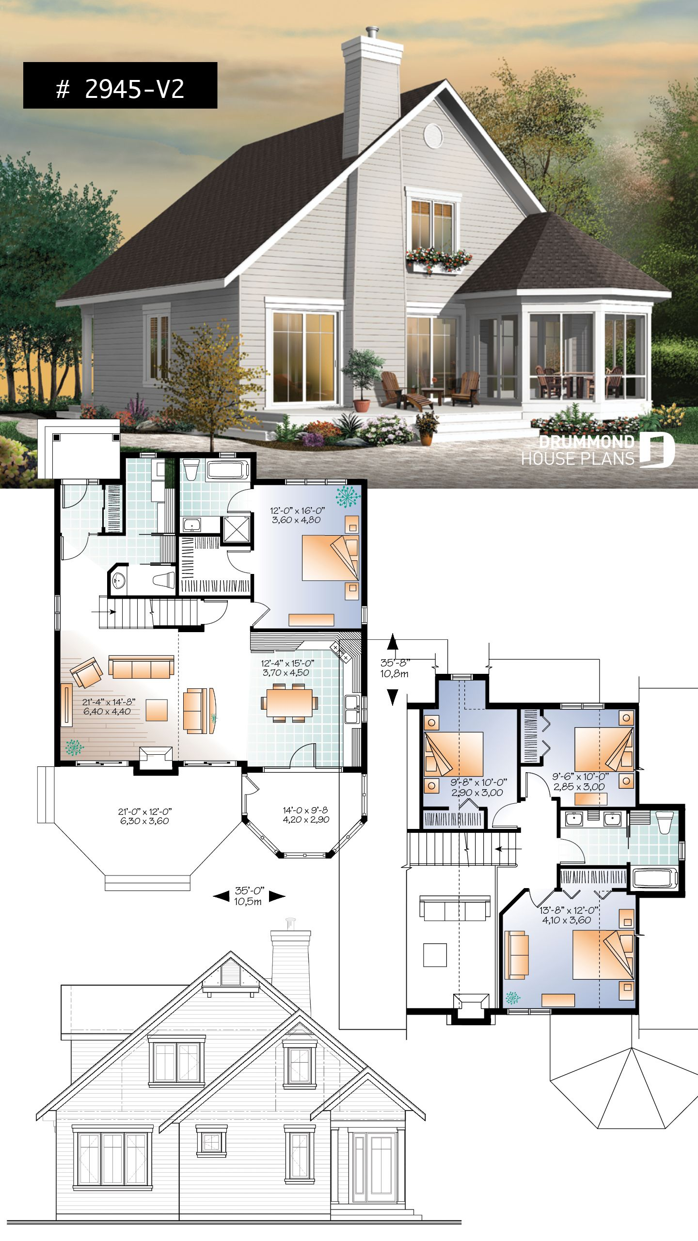 Discover The Plan 2945 V2 The Sunburst 3 Which Will Please You For Its 4 Bedrooms And For Its Cottage Chalet Cabin Styles Sims House Plans Traditional House Plans House Plans