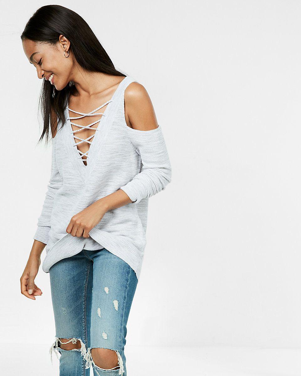 Marled Two-Way Lace-Up Tunic Sweater | Tunic sweater, Tunics and ...