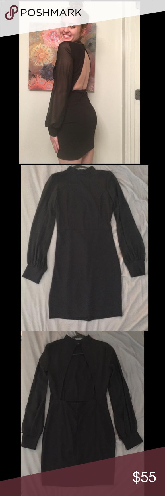 Black long sleeve dress back cutout from lulus pinterest