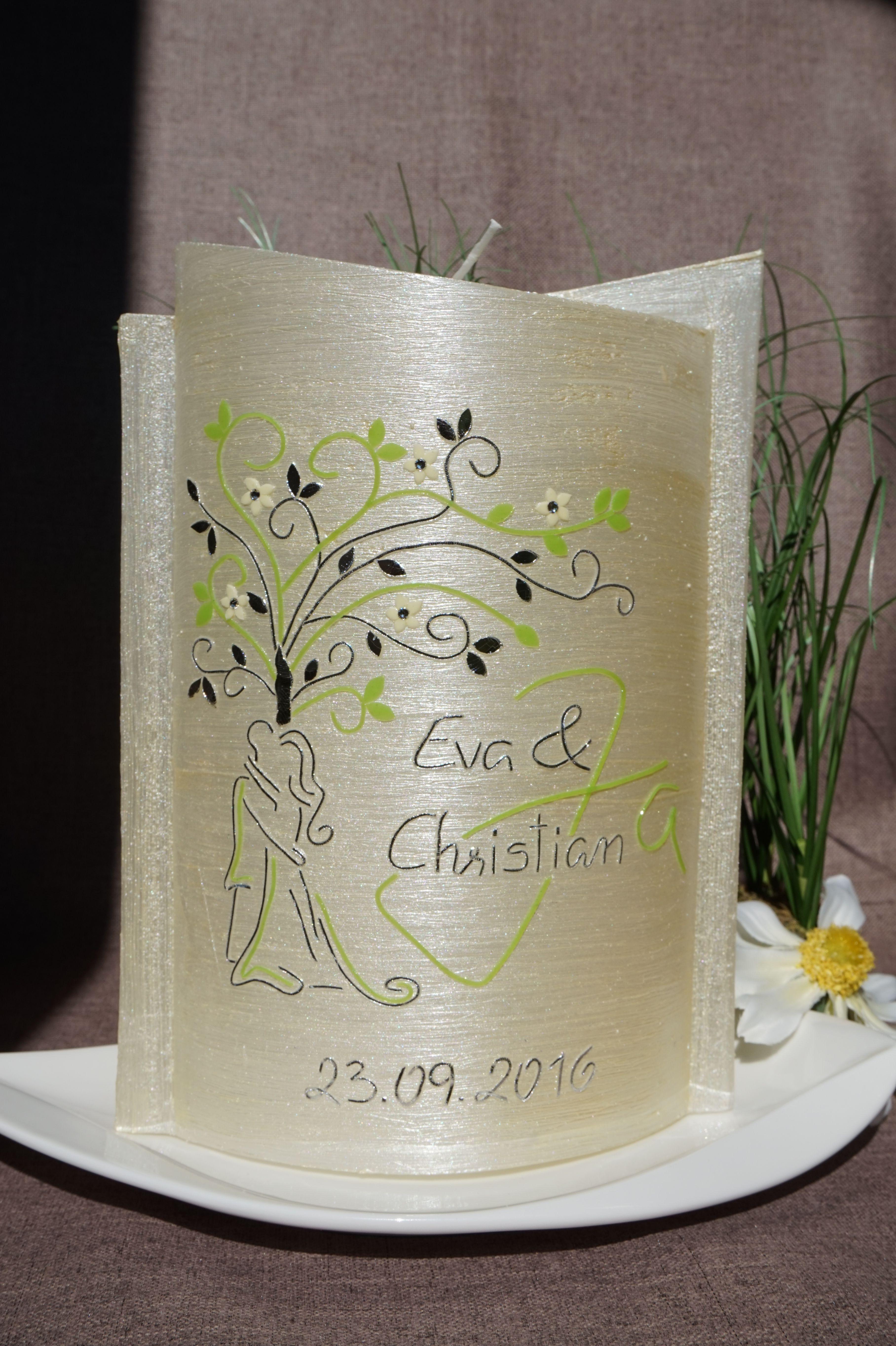 Hochzeitskerze Hochzeit Lebensbaum Kerze grün Brautpaar