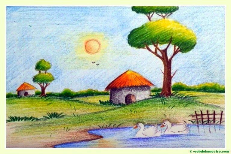 Paisajes Faciles De Dibujar Web Del Maestro Dibujos Faciles Dibujos De Crayones Dibujos De La Naturaleza