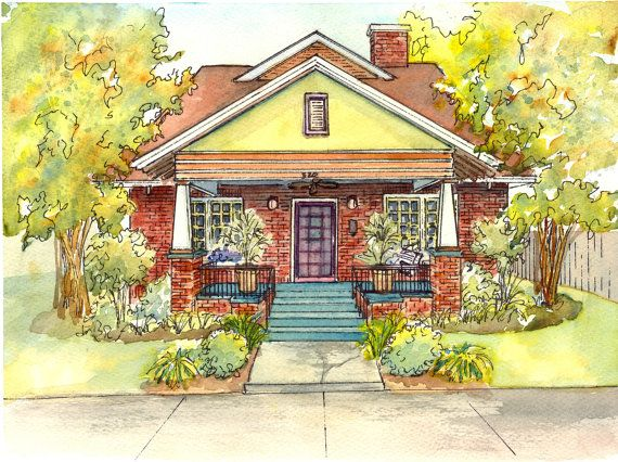 Listing For Commissioned Watercolor House Portraits Using Your