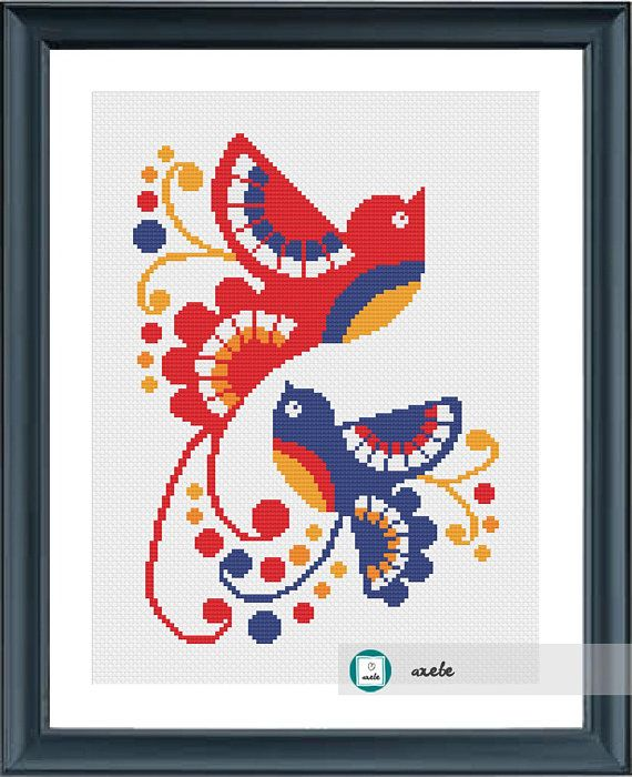 Doves cross stitch pattern, modern cross stitch pattern, PDF, instant download