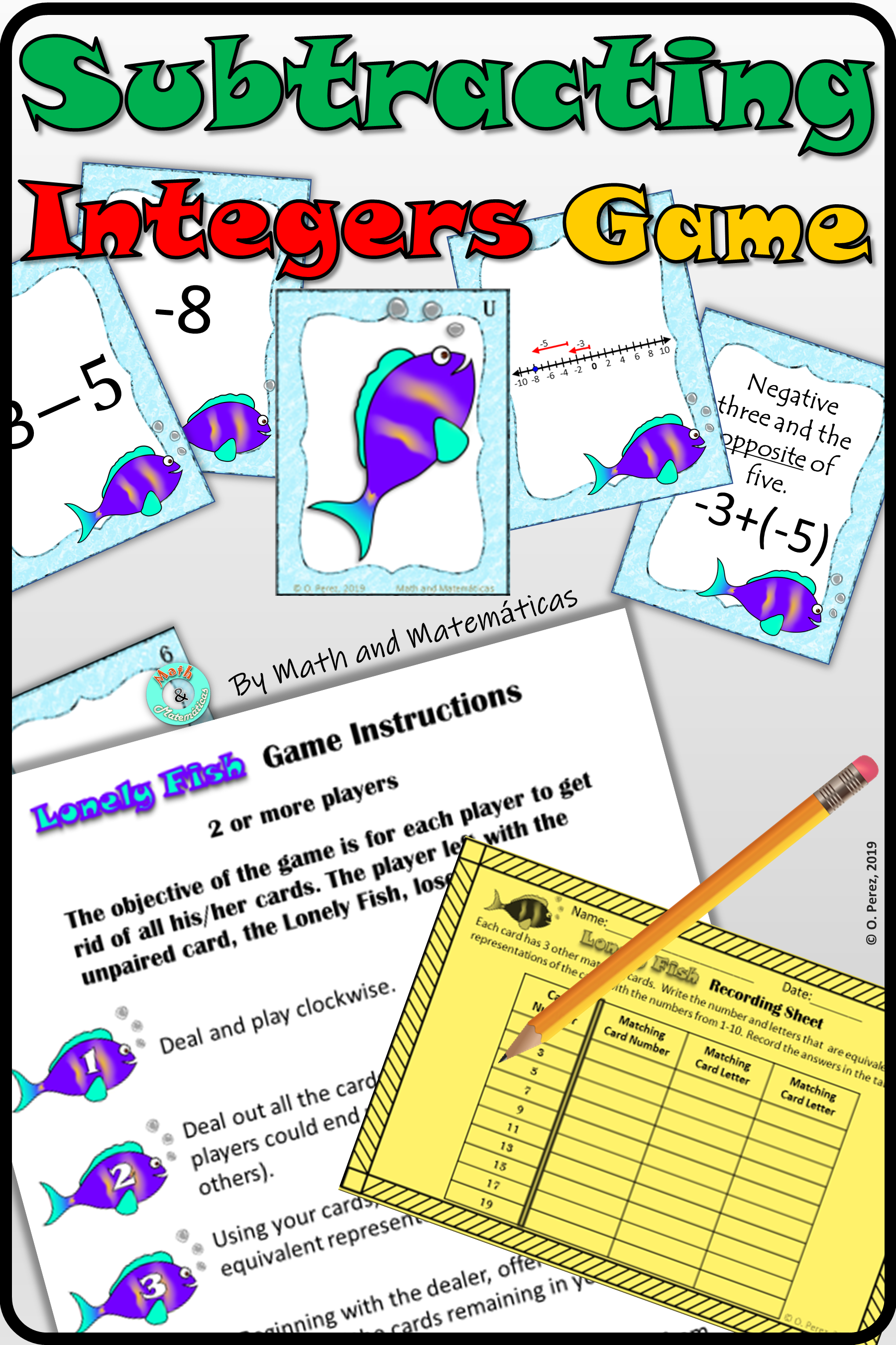 Subtracting Integers Pairing Activity Or Matching Game