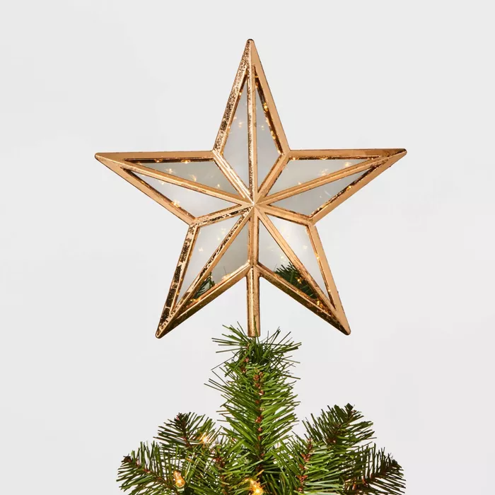 12.75in 30 Light Glass Panel Star Tree Topper Gold - Wondershop -   18 christmas tree topper diy star ideas