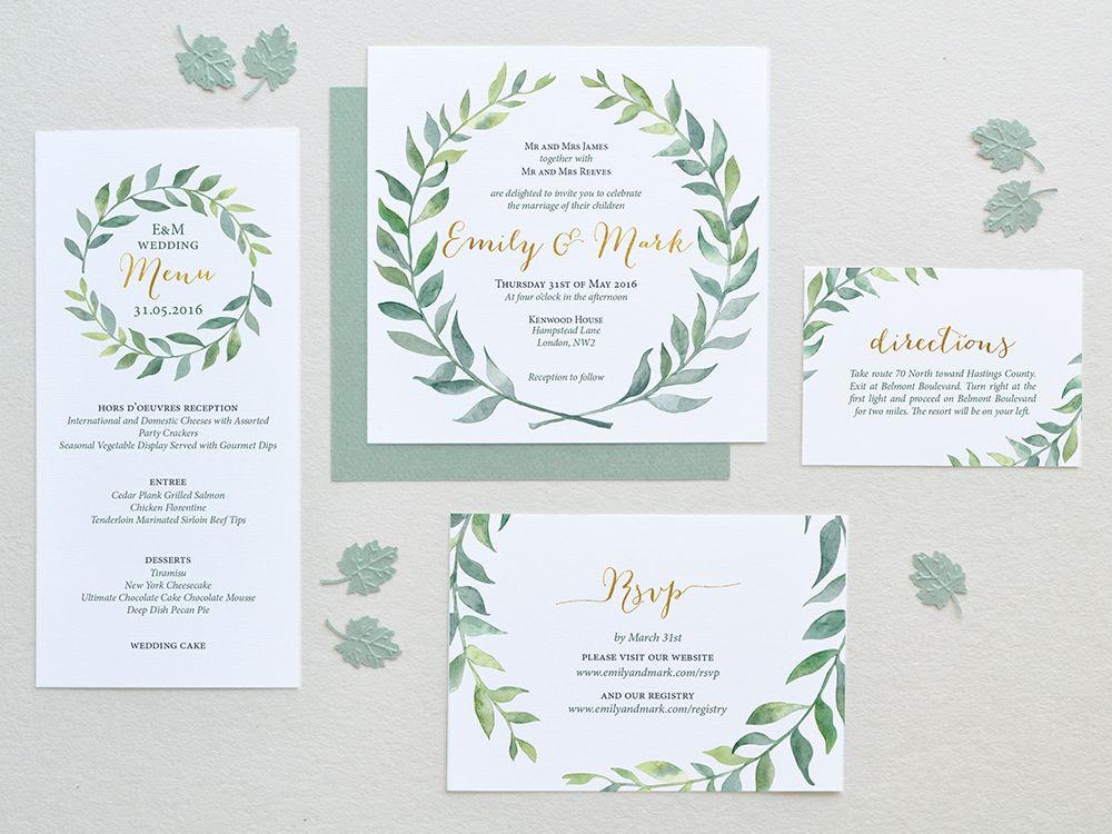 Green watercolor wreath wedding invitation | z :: Client | KD ...