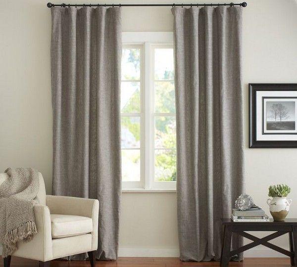 graue gardinen leinenstoff landhausstil weiße möbel | vorhänge ... - Vorhange Wohnzimmer Grau