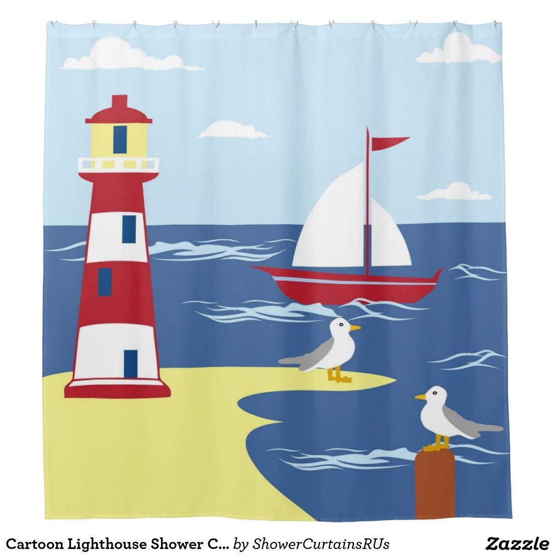 Cartoon Lighthouse Shower Curtain Such Perfect Bathroom Decor