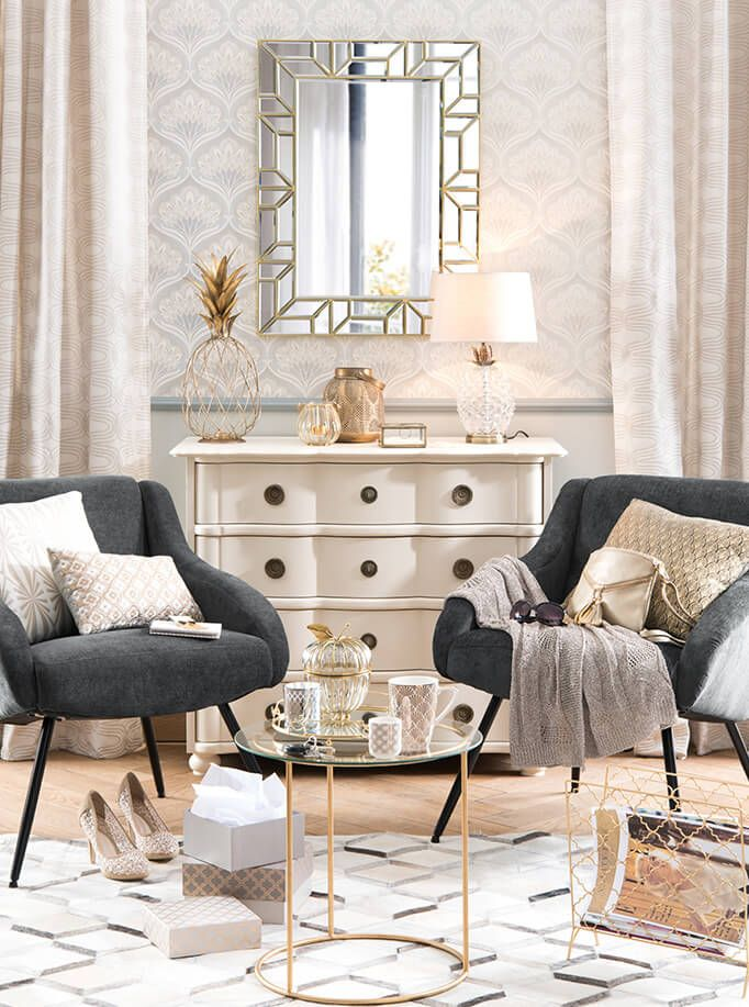Tendance déco élégance de maisons du monde miroir fauteuils table basse boîtes
