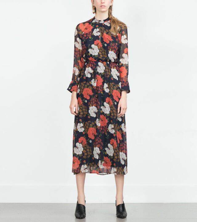 2016 temperamento mulheres gola Retro imprimir Chiffon vestidos ZA marca Casual vestido de manga comprida vestido femininas D263 em Vestidos de Moda e Acessórios no AliExpress.com   Alibaba Group