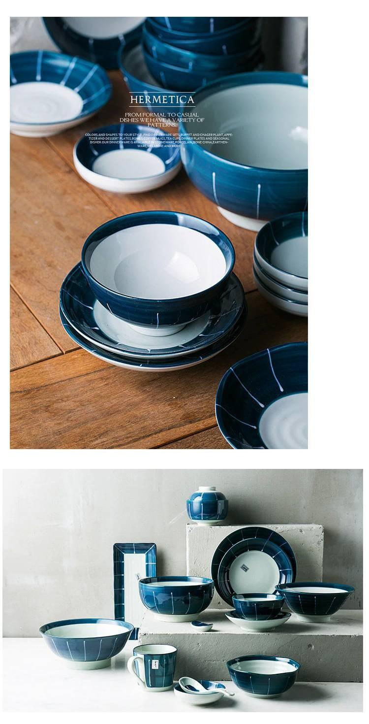 1 Person 2 Person 6 Person Ceramic Tableware Sets Deep Blue Color Ceramic Bowls Long Sushi Japanese Porcelain Dinner Set In 2020 Ceramic Tableware Tableware Set Japanese Porcelain
